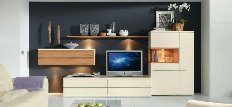 salon moderne mur noir idées de meubles blancs
