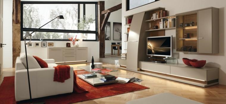 salon moderne meubles blancs idées de tapis rouge
