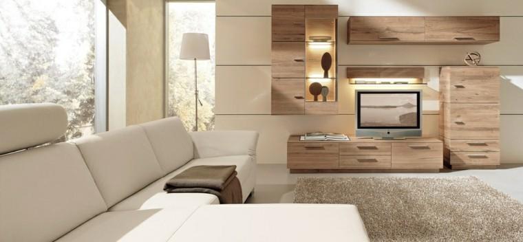 salon moderne idées de meubles en bois clair