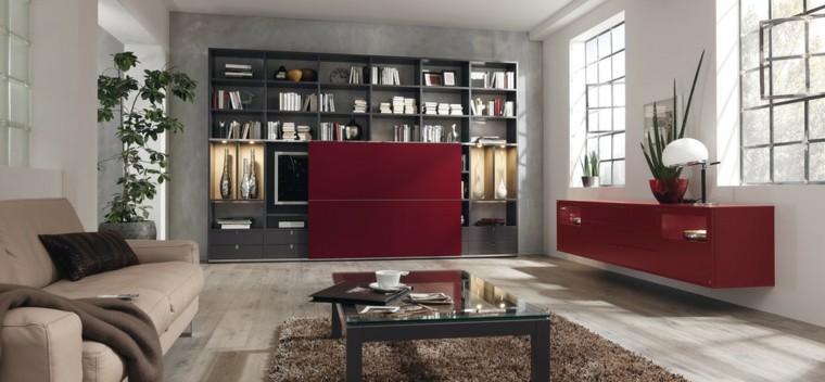 le salon moderne touche un design d'idée audacieuse rouge vif