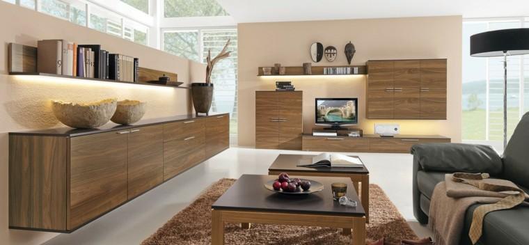 armoires en bois de technologie moderne étagères éclairées