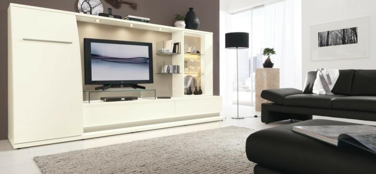 meubles de salon de technologie noir blanc grand style