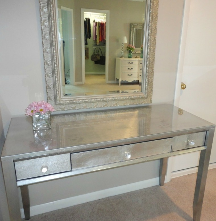 table de toilette en aluminium de miroir de table de hall