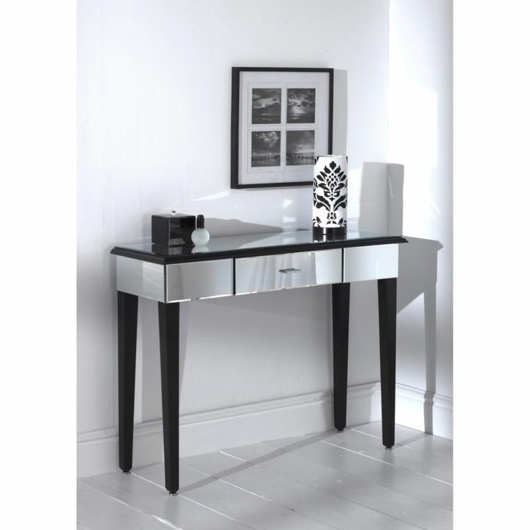 table haute miroir pieds noirs