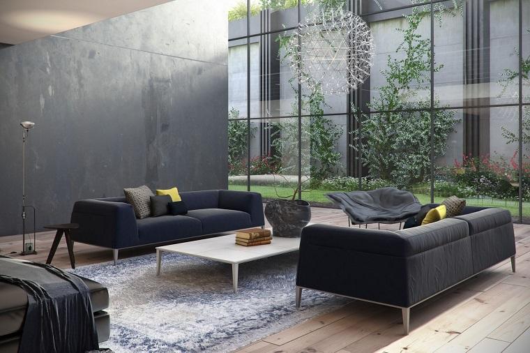 idées originales de canapé de fenêtre lumineuse de style noir