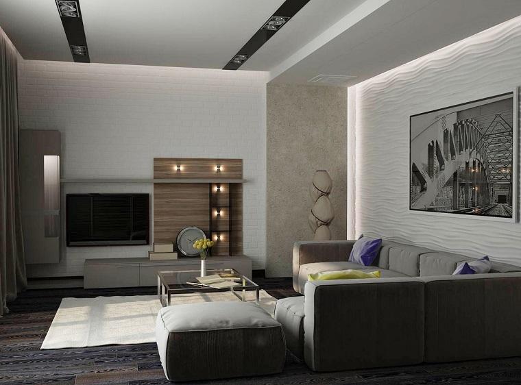 idées de photos originales grand canapé de style beige moderne