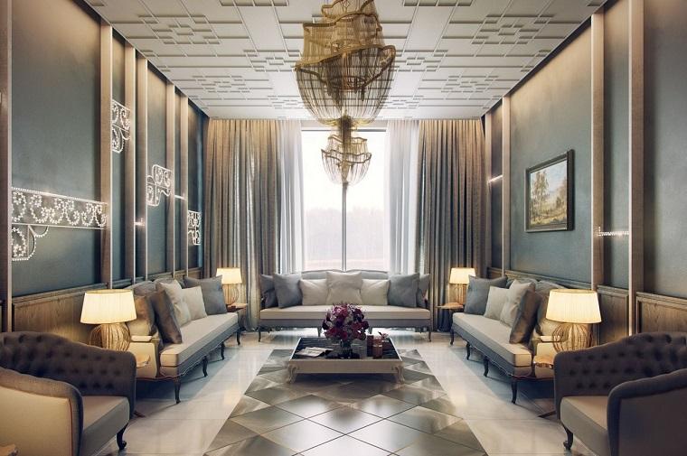 salon blanc de style traditionnel idées canapé