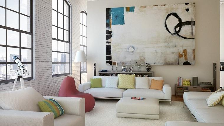 photos originales meubles blancs lumineux art moderne peinture