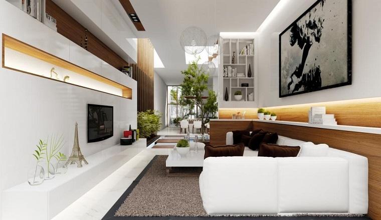Photos originales salon moderne meuble blanc idees de télévision