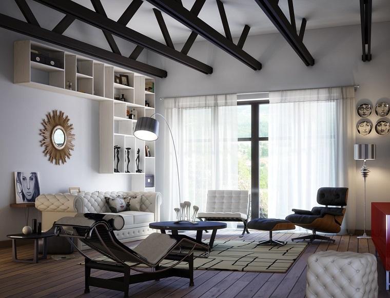 photos originales salon canapé fauteuil idées cuir blanc moderne