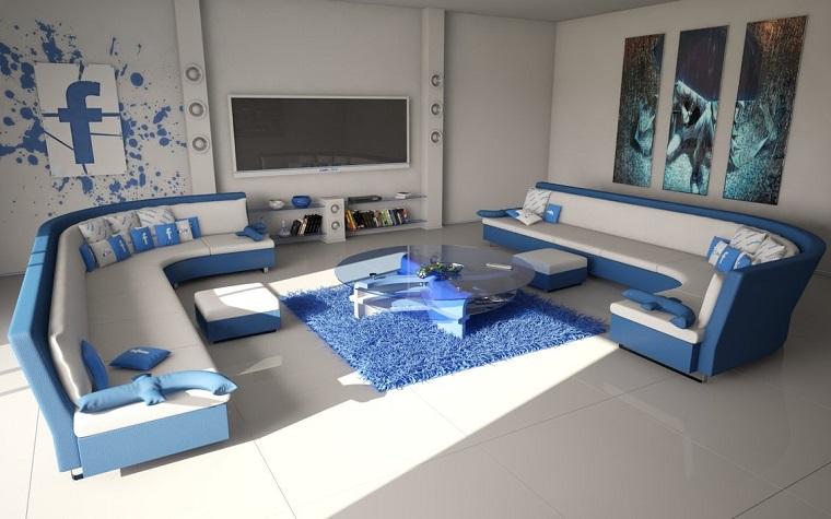 photos originales coussins à thème décoratif mur bleu blanc design