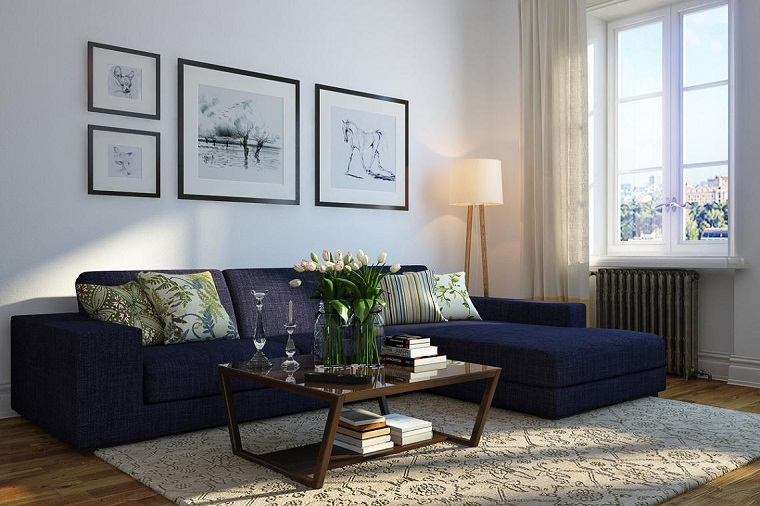 photos originales grandes idées de mur de canapé bleu