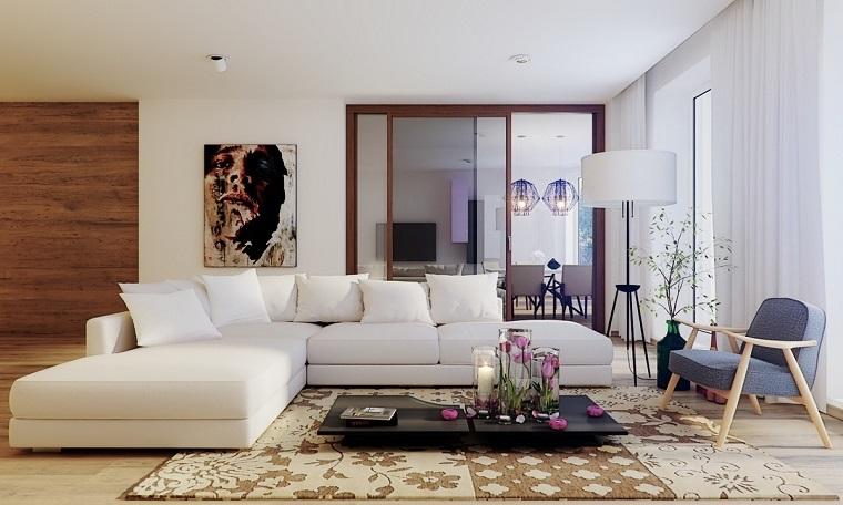 photos originales grand canapé commode blanche idées de table basse noire