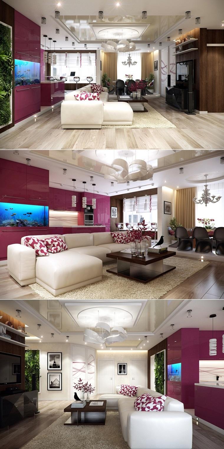 lampe design coussins de salon violet spacieux design intéressant