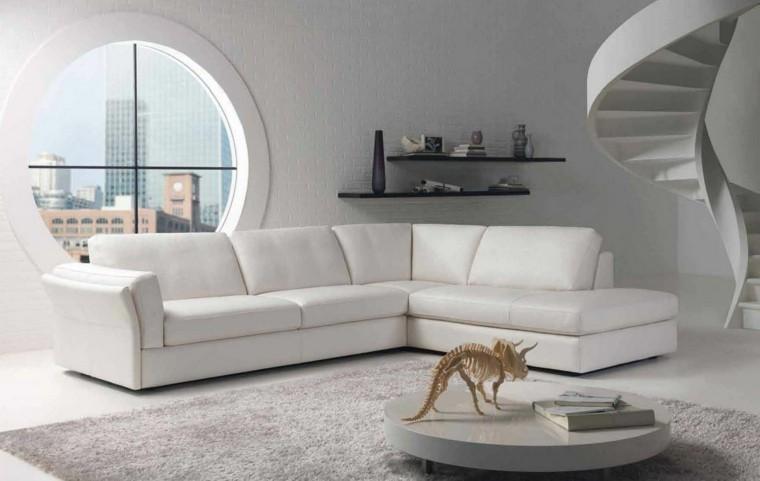 idées de salon étagères meubles en cuir mur blanc