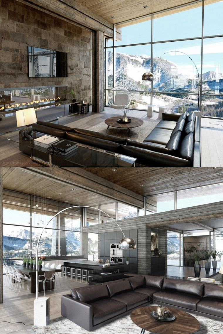 Canapé en cuir de salon spacieux moderne design ouvert