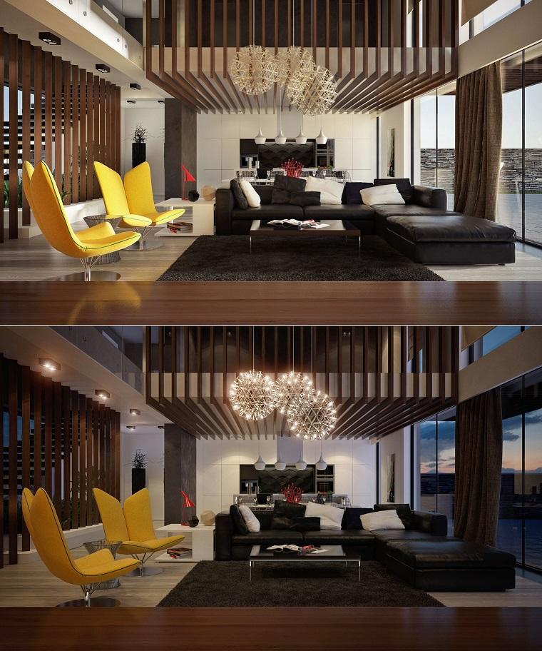 salon chaises modernes canapé en cuir jaune vif design noir