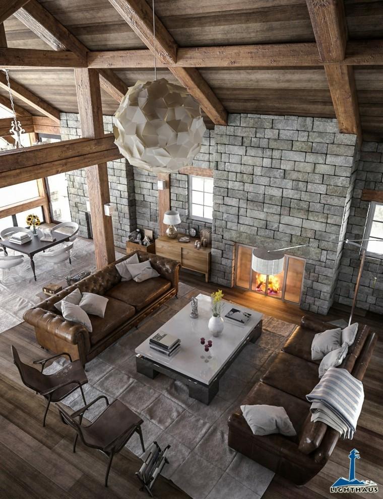 salon design moderne meubles de style rustique en cuir