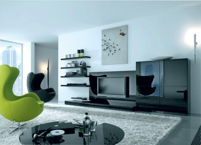 salon moderne chaises design vert noir idée