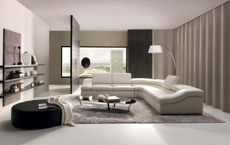 salon moderne design grand tabouret rond noir