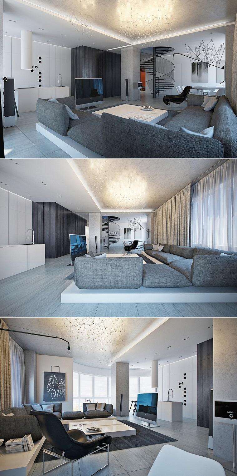 salon moderne spacieux sur deux niveaux idées de canapé confortable gris