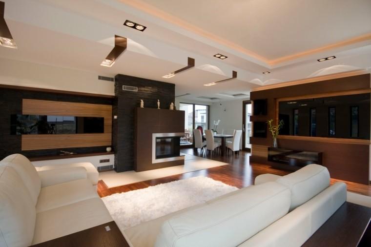 salon exclusif spacieux idées de conception de cheminée moderne
