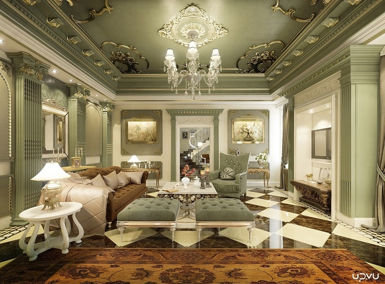 tabourets de salon de style classique canapé velours design