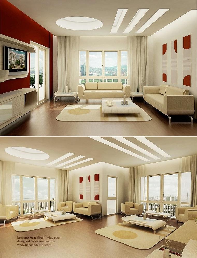 salon spacieux blanc design moderne idées originales