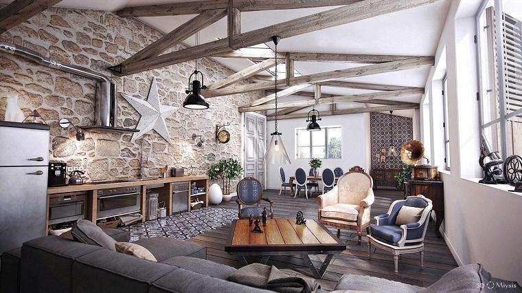salon moderne design de meubles confortables de style rustique