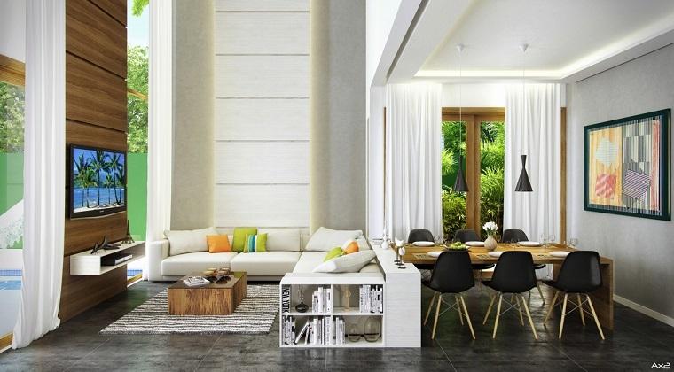 salon moderne avec plafond haut idee deco design