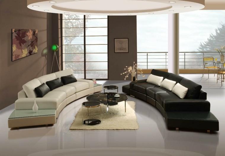 salon moderne design de canapés en cuir noir blanc