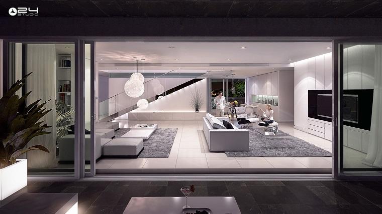 salon moderne meubles blancs lumineux idées de dernière génération