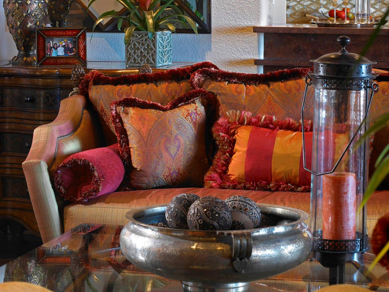 coussins de canapé argent plaque décorative maroc