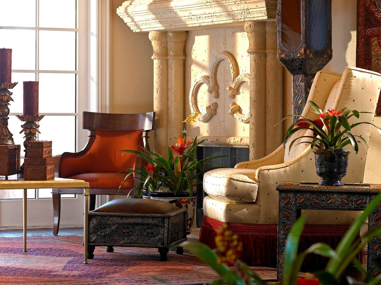 meubles marocains idées de bougies rustiques cheminée à bois