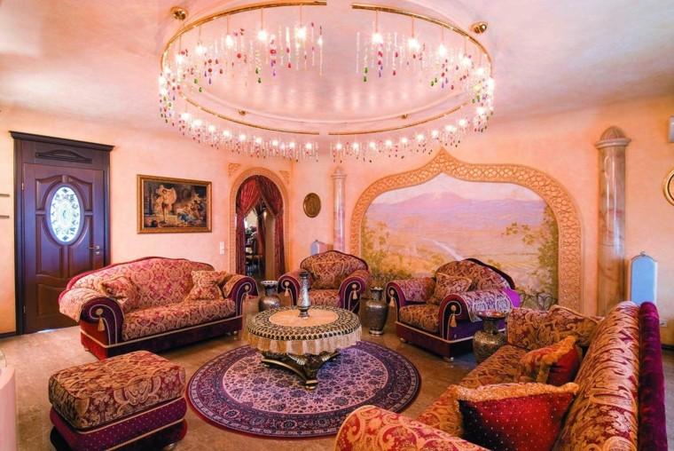 maroc salon large tissus plafond rouge joli