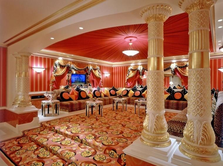 idées de couleurs vives de colonnes de salon maroc