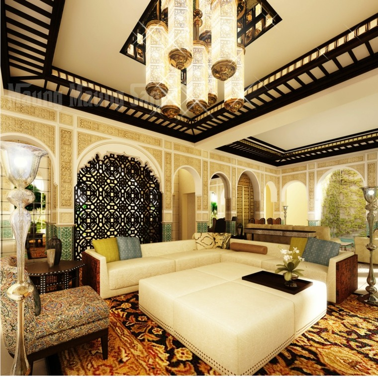 salon marocain style original orient blanc