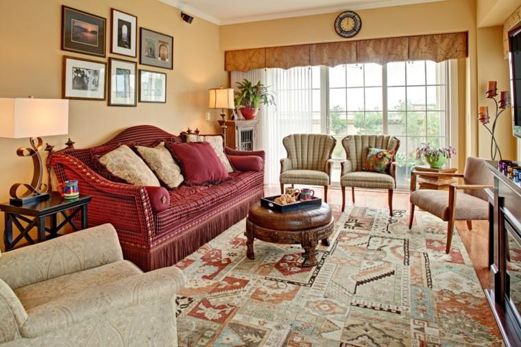 maroc salon canapé rouge tapis idée intéressante simple