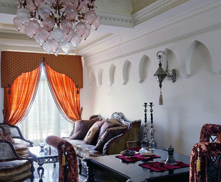 Salon de style marocain meubles muraux blancs idées rustiques