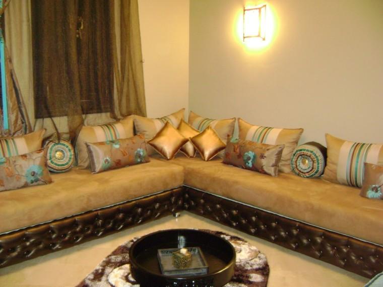 Idées d'impressions de coussins d'or de salon de style marocain