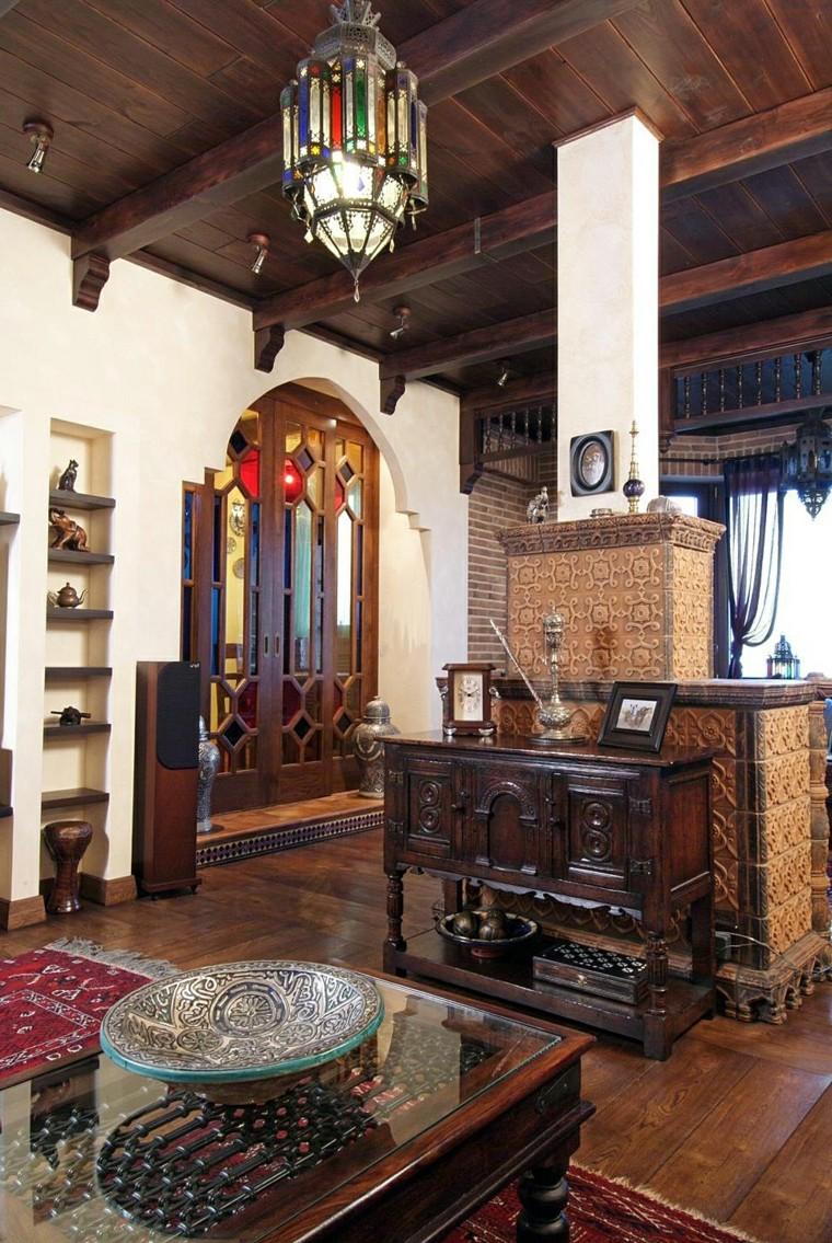 Salon marocain mobilier rustique table basse lanterne en verre