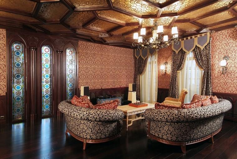 Idées de salon marocain couleurs impressions cristaux muraux