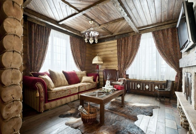 plafond en bois salon idées de design rustique pays