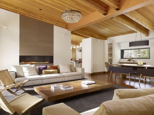 table de plafond de salon combinaison de bois design