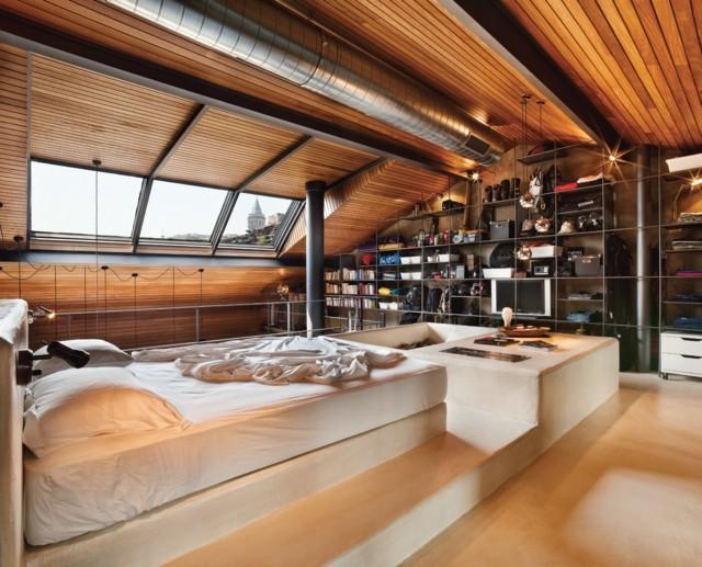 lattes de bois plafond chambre design incroyable