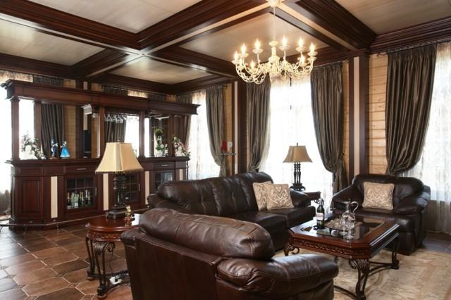 salon design moderne meubles en cuir plafond bois