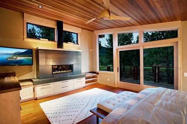 plafond en bois chambre baie vitrée joli design