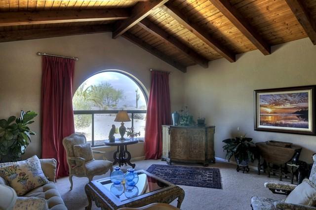 design rustique de style de salon de plafond en bois