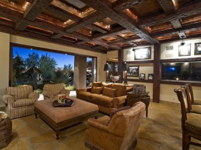 Plafond en bois de style rustique en cuir de conception campagnarde
