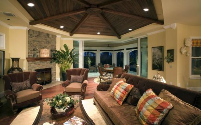 plafonds en bois idées intéressantes salon design